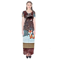 Winter Snow Ball Snow Cold Fun Short Sleeve Maxi Dress