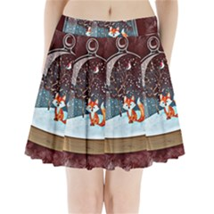 Winter Snow Ball Snow Cold Fun Pleated Mini Skirt