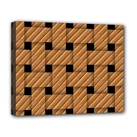 Wood Texture Weave Pattern Deluxe Canvas 20  X 16