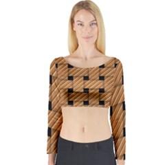 Wood Texture Weave Pattern Long Sleeve Crop Top