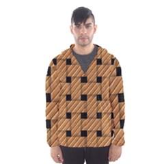 Wood Texture Weave Pattern Hooded Wind Breaker (Men)