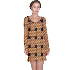 Wood Texture Weave Pattern Long Sleeve Nightdress