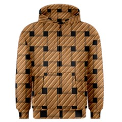 Wood Texture Weave Pattern Men s Zipper Hoodie