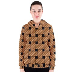 Wood Texture Weave Pattern Women s Zipper Hoodie
