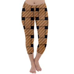 Wood Texture Weave Pattern Capri Winter Leggings
