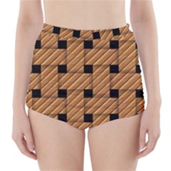 Wood Texture Weave Pattern High Waisted Bikini Bottoms
