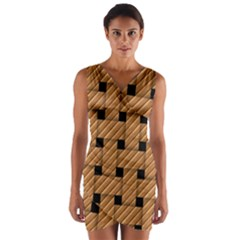 Wood Texture Weave Pattern Wrap Front Bodycon Dress