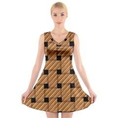 Wood Texture Weave Pattern V Neck Sleeveless Skater Dress