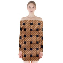 Wood Texture Weave Pattern Long Sleeve Off Shoulder Dress