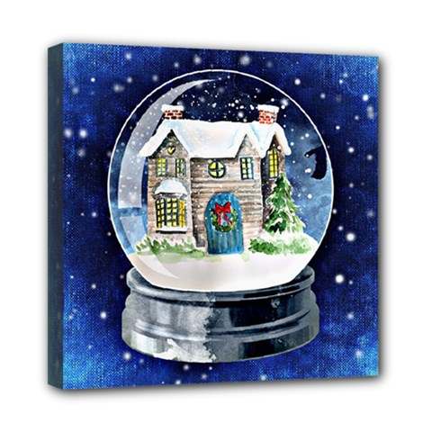 Winter Snow Ball Snow Cold Fun Mini Canvas 8  x 8