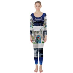 Winter Snow Ball Snow Cold Fun Long Sleeve Catsuit