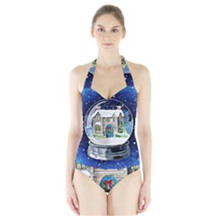 Winter Snow Ball Snow Cold Fun Halter Swimsuit