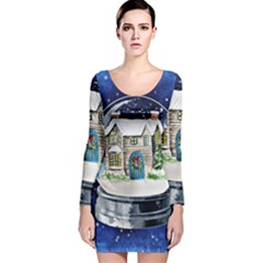Winter Snow Ball Snow Cold Fun Long Sleeve Velvet Bodycon Dress