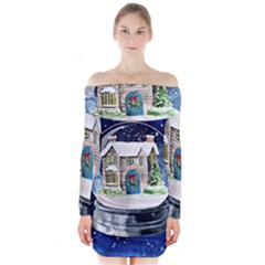 Winter Snow Ball Snow Cold Fun Long Sleeve Off Shoulder Dress