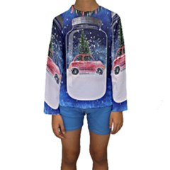 Winter Snow Ball Snow Cold Fun Kids  Long Sleeve Swimwear