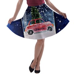 Winter Snow Ball Snow Cold Fun A-line Skater Skirt