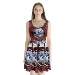 Winter Snow Ball Snow Cold Fun Split Back Mini Dress