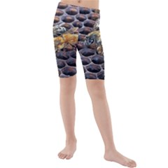 Worker Bees On Honeycomb Kids  Mid Length Swim Shorts