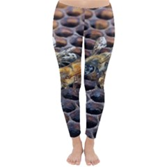 Worker Bees On Honeycomb Classic Winter Leggings
