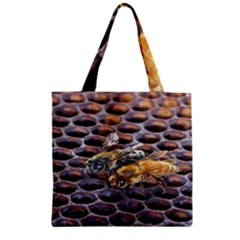 Worker Bees On Honeycomb Zipper Grocery Tote Bag