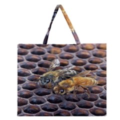 Worker Bees On Honeycomb Zipper Large Tote Bag