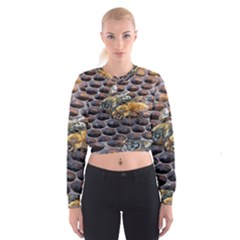 Worker Bees On Honeycomb Women s Cropped Sweatshirt