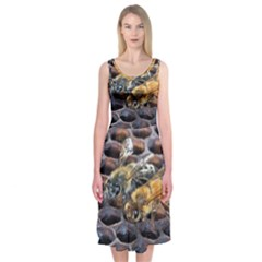 Worker Bees On Honeycomb Midi Sleeveless Dress