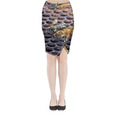 Worker Bees On Honeycomb Midi Wrap Pencil Skirt