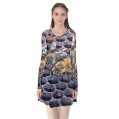 Worker Bees On Honeycomb Flare Dress