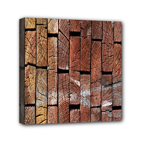 Wood Logs Wooden Background Mini Canvas 6  x 6
