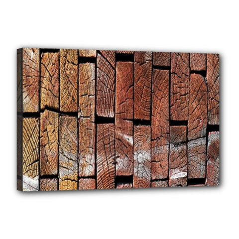 Wood Logs Wooden Background Canvas 18  x 12