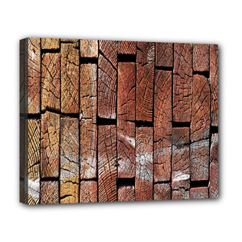 Wood Logs Wooden Background Deluxe Canvas 20  X 16