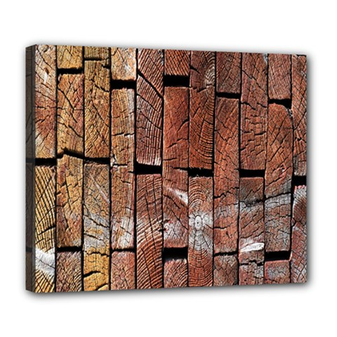 Wood Logs Wooden Background Deluxe Canvas 24  X 20