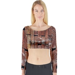 Wood Logs Wooden Background Long Sleeve Crop Top