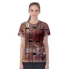 Wood Logs Wooden Background Women s Sport Mesh Tee