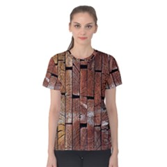 Wood Logs Wooden Background Women s Cotton Tee
