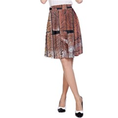 Wood Logs Wooden Background A Line Skirt