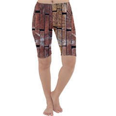 Wood Logs Wooden Background Cropped Leggings