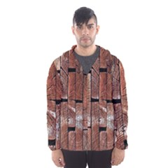 Wood Logs Wooden Background Hooded Wind Breaker (Men)