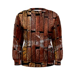Wood Logs Wooden Background Women s Sweatshirt