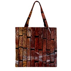 Wood Logs Wooden Background Zipper Grocery Tote Bag
