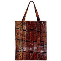 Wood Logs Wooden Background Zipper Classic Tote Bag