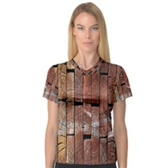 Wood Logs Wooden Background Women s V-Neck Sport Mesh Tee
