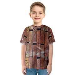 Wood Logs Wooden Background Kids  Sport Mesh Tee