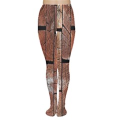 Wood Logs Wooden Background Women s Tights