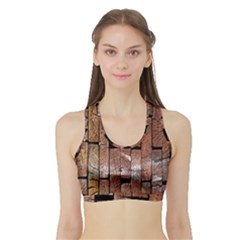 Wood Logs Wooden Background Sports Bra with Border