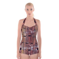 Wood Logs Wooden Background Boyleg Halter Swimsuit