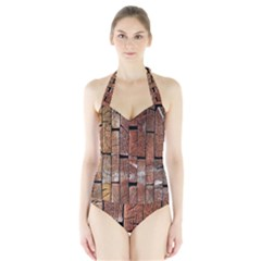 Wood Logs Wooden Background Halter Swimsuit