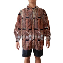 Wood Logs Wooden Background Wind Breaker (Kids)