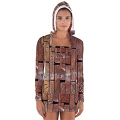 Wood Logs Wooden Background Women s Long Sleeve Hooded T-shirt